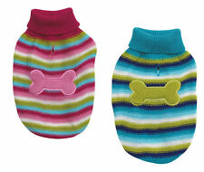 Brite stripe dog sweater w/ bone applique pet apparel clothing ALL size 2 colors