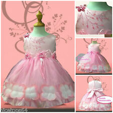 PP476 Toddler Girl Pink Baptism Chirstening Flower Girls Dress SIZE 1-2-3-4-5-6T