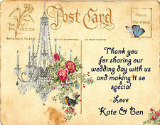 PERSONALISED SHABBY CHIC VINTAGE POSTCARD WEDDING THANK YOU CARDS