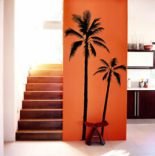 "XXL SET OF 2 - PALM TREE 75"" TALL VINYL WALL DECAL COCONUT PALMIER BEACH SURF"