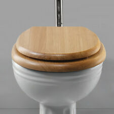 """New Natural Solid 18"""" Bathroom Wooden Toilet Seats In Oak Pine Hinges Fittings"""