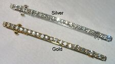 4'' CLEAR CRYSTAL ROW BARRETTE SELECT SILVERTONE OR GOLDTONE SHIPS FAST FROM USA