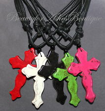 Beauty for Ashes Scallop Edged Stone Cross Ethnic Chunky Black Cord Necklace