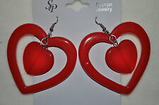 Double Acrylic Dangle costume Fashion assorted color Fish hook earrings-New