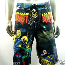 "Minute Mirth Shorts Trunks Board Tattoo Surf K9 Sz 32"" 34"" 36"" 38"" Swim Vtg"