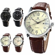 Genuine ORKINA Mens Boyfriend Date Leather Strap Wrist Quartz Watch