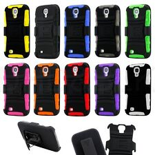 RUGGED COMBO CASE BELT CLIP HOLSTER KICKSTAND FOR Samsung Galaxy S4 S 4 IV i9500