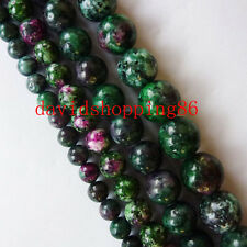 AB001   1  Strand Beautiful Ruby in Fuchsite Round Loose Bead 15.5inch