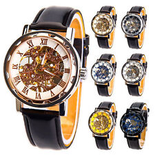 Mens Skeleton Transparent Mechanical Stainless Steel Boys Leather Sport Watch