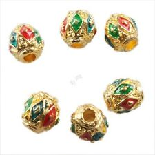 10/50pcs Hotsale Golden Silvery Tone Ball Charms Spacer Cloisonne Beads 8x8mm