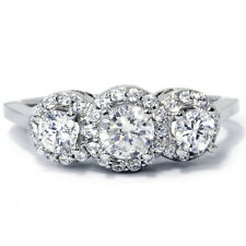 1.00CT Halo Vintage 3 Stone Diamond Engagement Ring 14K White Gold Pave Antique