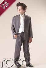 Boys Grey Ivory 5pc Waistcoat Wedding Pageboy Prom Outfits Suit  0-3m - 14y