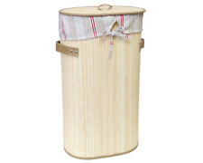 Natural Oval Bamboo Foldable Laundry Basket Hamper with Lining