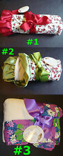 NWT TRALALA Red/Green/Purple Cherry Blossom Flower BABY BLANKET Sherpa/Satin