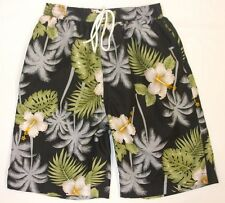 Mens Floral Print Summer Beach Swim Shorts Net Lined Black M L XL 1st Class Post