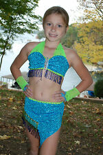 Lime and turquoise sequined & beaded competition dance costume CM, CL, CML