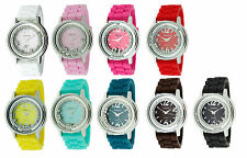 GENEVA SILICONE,LOOSE,FALLING CRYSTALS RED,PINK,TEAL,BROWN,BLUE,PURPLE WATCH