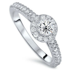 3/4CT (TCW) Halo REAL Diamond Engagement Round Cut Halo Ring 14 KT White Gold
