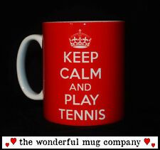 NEW KEEP CALM AND PLAY TENNIS GIFT MUG CUP PESENT WIMBLEDON RACKET MATCH WATCH