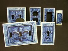 BLUE FLEUR DE LIS IMAGE 20  LIGHT SWITCH COVERS PLATE AND OUTLETS