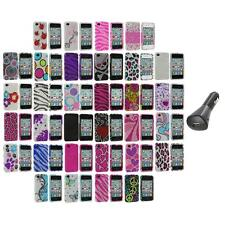 Bling Rhinestone Color Hard Case Cover Accessory+Car Charger for iPhone 4S 4G 4