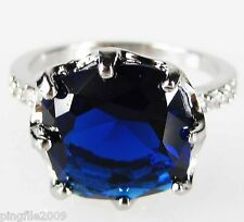 Size 6,7,8,9 Jewelry Woman's Sapphire White Topaz 10KT White Gold Filled Ring