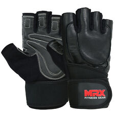 MRX Weight Lifting Gloves Gym Training Fitness Glove Leather Long Wrist Straps