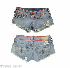 NWT TRUE RELIGION Jeans Joey Flower Child Cut Off Shorts Distressed Hem ZZL