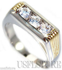 3 CZ Stones Rhodium Plated With Gold Plated Side Mens Ring
