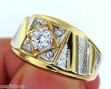 0.48ct Clear CZ Stones Two Tone Gold EP  Mens Ring