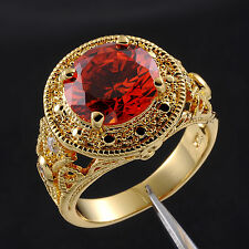 Jenny G Jewelry Size 9,10,11 Antique Men's Garnet 18K Yellow Gold Filled Ring