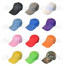 5 x Plain Colour Adjustable Baseball Caps / Hats