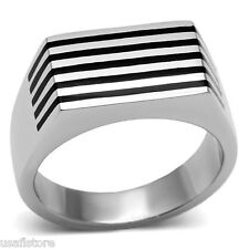 Five Jet Black Line Silver Stainless Steel Black Epoxy Mens Ring