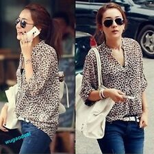 Women Chiffon Sexy Leopard Print Summer Shirt Top Button Down Blouse M,L,XL