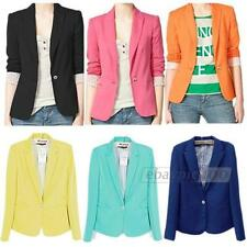 Candy Color Long Sleeve Button Slim Casual Women Blazer Suit Jacket Coat Outwear