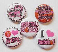 """Girls Basketball Flatback - Pin Back Buttons 1"""" for Bows Embellishments Etc"""