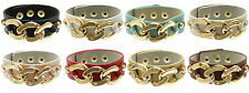 "Chunky Chain Link Faux Leather Bracelet Adjustable Length 1"" Strap USA Seller"