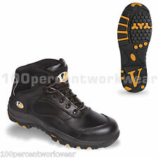 V12 Vtech Safety VS640 SMASH Work Trainers Boots Black Leather Toe Cap Sole New