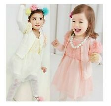 Spring New Kids Toddler 3D Lace Flower Cardigan+Dress 2PCS Girls Outfit Set 2-7Y