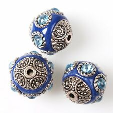 10/50pcs 112723 New 6 Rhinestones Blue Ball Round Charms Faux Indonesia Beads