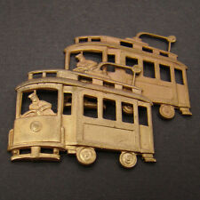 2 vintage brass stampings cable car trolley great patina 36mm