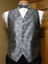 Vest Paisley Silver Gray Full Back Bow Tie Tuxedo Steampunk Wedding Prom Groom