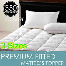 King/Queen/Double/Single PREMIUM FITTED MATTRESS TOPPER 100% COTTON COVER
