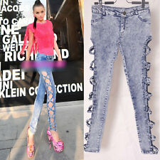 Women Sexy Vintage Detailed Side Bow Cutout Ripped Denim Jeans Jeggings Trousers