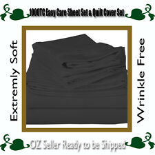5 Sizes 1000TC Easy Care Microfibre Soft Sheet Set,Quilt Cover Set-Charcoal