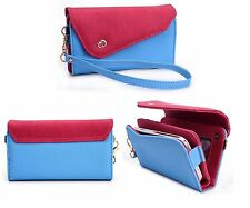 Kroo Chic Designer Smart-Phone Wristlet Clutch Leather Case Cover Pouch Blue
