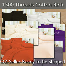 DB/QB/KB 1500TC Fitted Sheet (No Flat Sheet) Cotton Rich 8 Colors