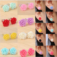 2Pair Lovely Vintage Rose Flower Stud Earrings for Wedding Party All Colour Pick