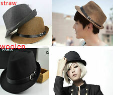 Summer Beach Fedora Trilby Gangster Straw,Woolen Panama Jazz Hat Cap Men Women K
