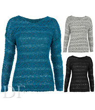 NEW LADIES WOMENS BOBBLE LONG SLEEVE WINTER CASUAL JUMPER KNITWEAR TOP SIZE 8-14